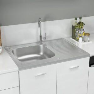 Lava-louça cozinha + escorredor 800x600x155mm aço inox prateado - PORTES GRÁTIS
