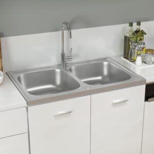 Lava-louça cozinha + cuba dupla 800x500x155mm aço inox prateado - PORTES GRÁTIS