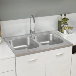 Lava-louça cozinha + cuba dupla 800x600x155mm aço inox prateado - PORTES GRÁTIS