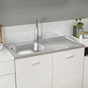Lava-louça cozinha + escorredor 1000x500x155 mm inox prateado - PORTES GRÁTIS
