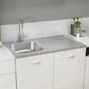 Lava-louça cozinha + escorredor 1000x600x155 mm inox prateado - PORTES GRÁTIS