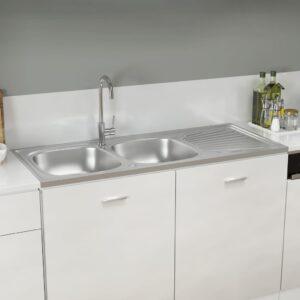 Lava-louça cozinha + cuba dupla 1200x500x155 mm inox prateado - PORTES GRÁTIS