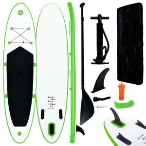 Conjunto prancha de paddle SUP insuflável verde e branco - PORTES GRÁTIS