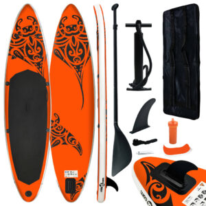 Conjunto prancha de paddle SUP insuflável 320x76x15 cm laranja - PORTES GRÁTIS