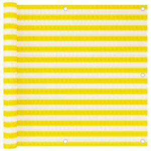 Tela de varanda 90x500 cm PEAD amarelo e branco - PORTES GRÁTIS