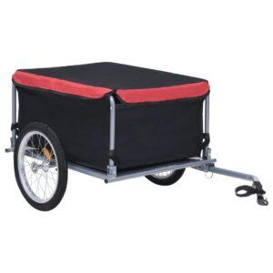 Reboque de carga para bicicleta 65 kg preto e vermelho - PORTES GRÁTIS