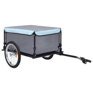 Reboque de carga para bicicleta preto e azul 65 kg  - PORTES GRÁTIS