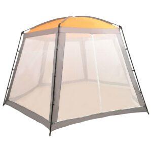 Tenda para piscina 500x433x250 cm tecido cinzento - PORTES GRÁTIS