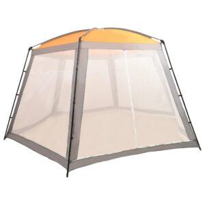 Tenda para piscina 590x520x250 cm tecido cinzento - PORTES GRÁTIS