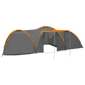 Tenda iglu de campismo 650x240x190 cm 8 pessoas cinza e laranja - PORTES GRÁTIS