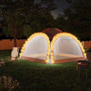 Tenda festas LED 4 paredes laterais 3,6x3,6x2,3 m cinza/laranja - PORTES GRÁTIS