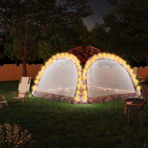 Tenda festas LED e 4 paredes laterais 3,6x3,6x2,3 m camuflagem - PORTES GRÁTIS