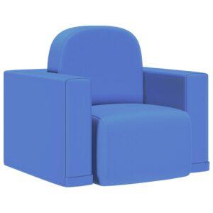 Sofá infantil 2-em-1 couro artificial azul - PORTES GRÁTIS