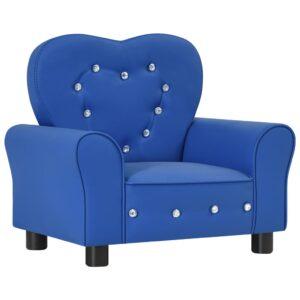 Sofá infantil couro artificial azul - PORTES GRÁTIS