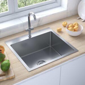 Lava-louça de cozinha artesanal com ralo aço inoxidável - PORTES GRÁTIS
