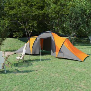 Tenda de campismo para 6 pessoas cinzento e laranja - PORTES GRÁTIS