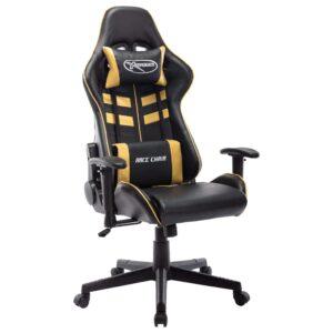 Cadeira de gaming couro artificial preto e dourado - PORTES GRÁTIS