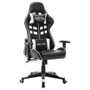 Cadeira de gaming couro artificial preto e branco - PORTES GRÁTIS