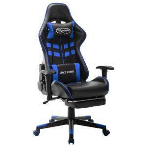 Cadeira de gaming c/ apoio de pés couro artificial preto e azul - PORTES GRÁTIS