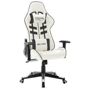 Cadeira de gaming couro artificial branco e preto - PORTES GRÁTIS