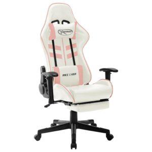 Cadeira de gaming couro artificial branco e cor-de-rosa - PORTES GRÁTIS