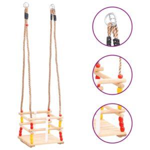 Baloiço para bebé c/ cinto de segurança madeira de pinho maciça - PORTES GRÁTIS