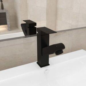 Torneira extraível p/ lavatório casa de banho 157x172 mm preto - PORTES GRÁTIS