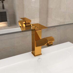 Torneira extraível p/ lavatório casa de banho 157x172mm dourado - PORTES GRÁTIS