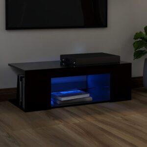 Móvel de TV com luzes LED 90x39x30 cm preto - PORTES GRÁTIS