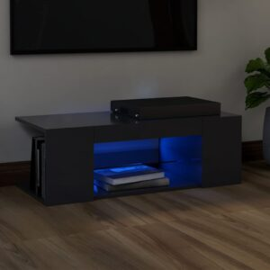 Móvel de TV com luzes LED 90x39x30 cm cinzento - PORTES GRÁTIS