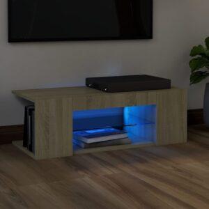 Móvel de TV com luzes LED 90x39x30 cm carvalho sonoma - PORTES GRÁTIS