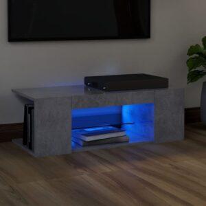 Móvel de TV com luzes LED 90x39x30 cm cinzento cimento - PORTES GRÁTIS