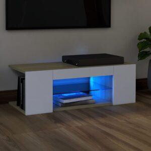 Móvel de TV com luzes LED 90x39x30 cm branco e carvalho sonoma - PORTES GRÁTIS