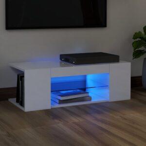 Móvel de TV com luzes LED 90x39x30 cm branco brilhante - PORTES GRÁTIS