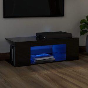 Móvel de TV com luzes LED 90x39x30 cm preto brilhante - PORTES GRÁTIS