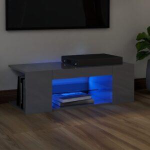Móvel de TV com luzes LED 90x39x30 cm cinzento brilhante - PORTES GRÁTIS