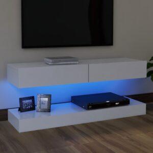 Móvel de TV com luzes LED 120x35 cm branco - PORTES GRÁTIS