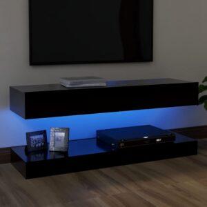 Móvel de TV com luzes LED 120x35 cm preto - PORTES GRÁTIS