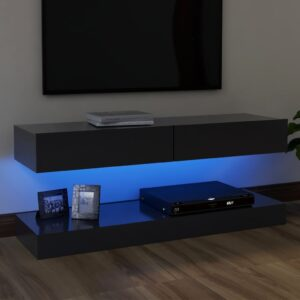 Móvel de TV com luzes LED 120x35 cm cinzento - PORTES GRÁTIS