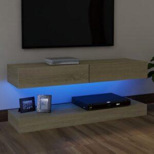 Móvel de TV com luzes LED 120x35 cm carvalho sonoma - PORTES GRÁTIS