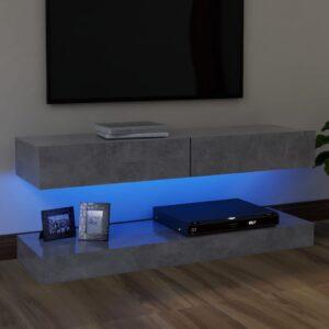 Móvel de TV com luzes LED 120x35 cm cinzento cimento - PORTES GRÁTIS