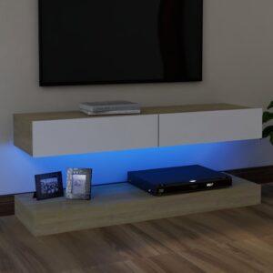 Móvel de TV com luzes LED 120x35 cm branco e carvalho sonoma - PORTES GRÁTIS