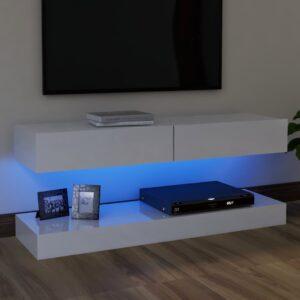 Móvel de TV com luzes LED 120x35 cm branco brilhante - PORTES GRÁTIS