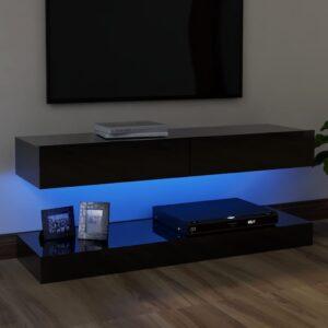 Móvel de TV com luzes LED 120x35 cm preto brilhante - PORTES GRÁTIS