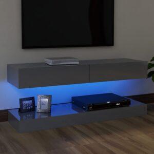 Móvel de TV com luzes LED 120x35 cm cinzento brilhante - PORTES GRÁTIS