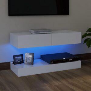 Móvel de TV com luzes LED 90x35 cm branco - PORTES GRÁTIS