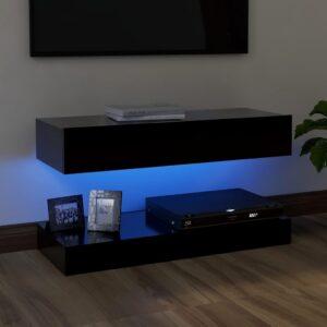 Móvel de TV com luzes LED 90x35 cm preto - PORTES GRÁTIS
