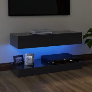 Móvel de TV com luzes LED 90x35 cm cinzento - PORTES GRÁTIS
