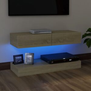 Móvel de TV com luzes LED 90x35 cm carvalho sonoma - PORTES GRÁTIS