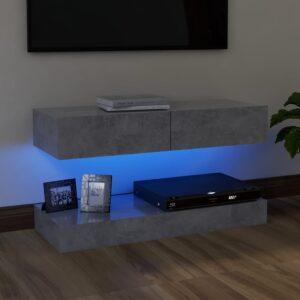 Móvel de TV com luzes LED 90x35 cm cinzento cimento - PORTES GRÁTIS